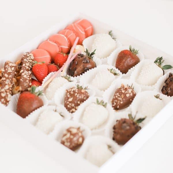 Chocolate Covered Strawberry and Macaron Box